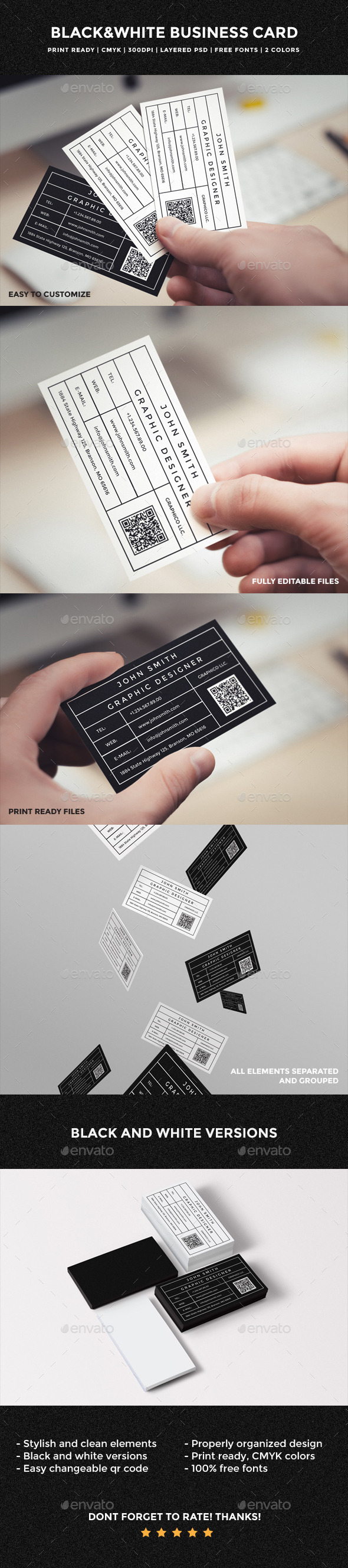 GraphicRiver Black & White Business Card 54 10818912
