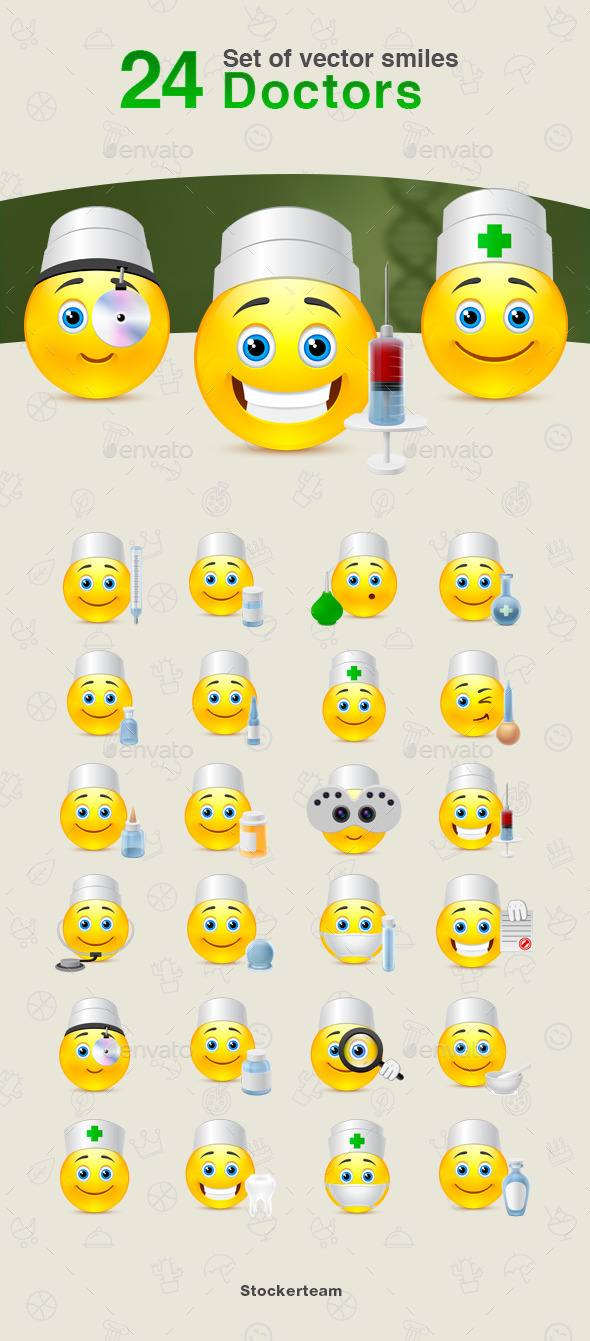GraphicRiver Set of vector Doctors smiles 10767819