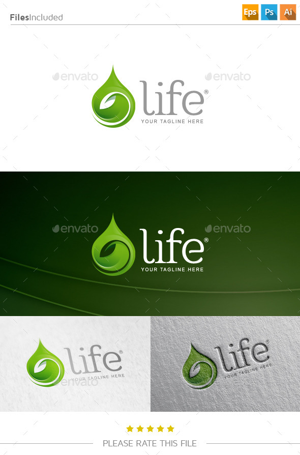 GraphicRiver Water Leaf Logo 10819357