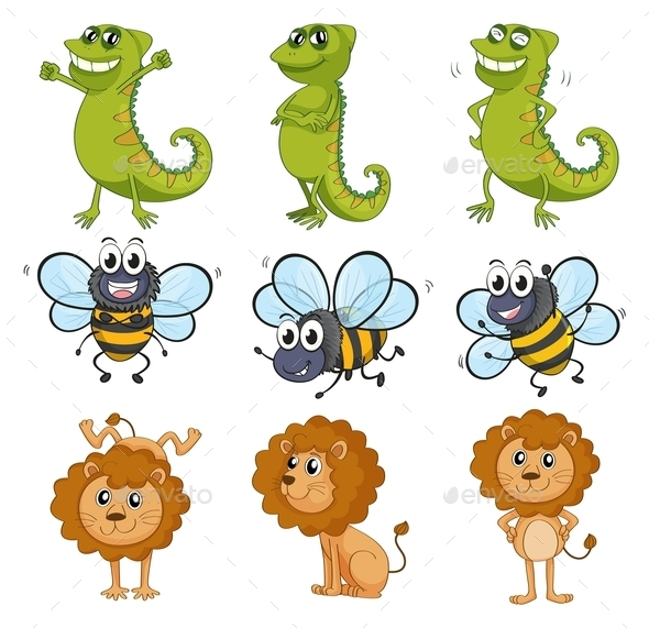 GraphicRiver Lion Chameleon and Bee 10819362