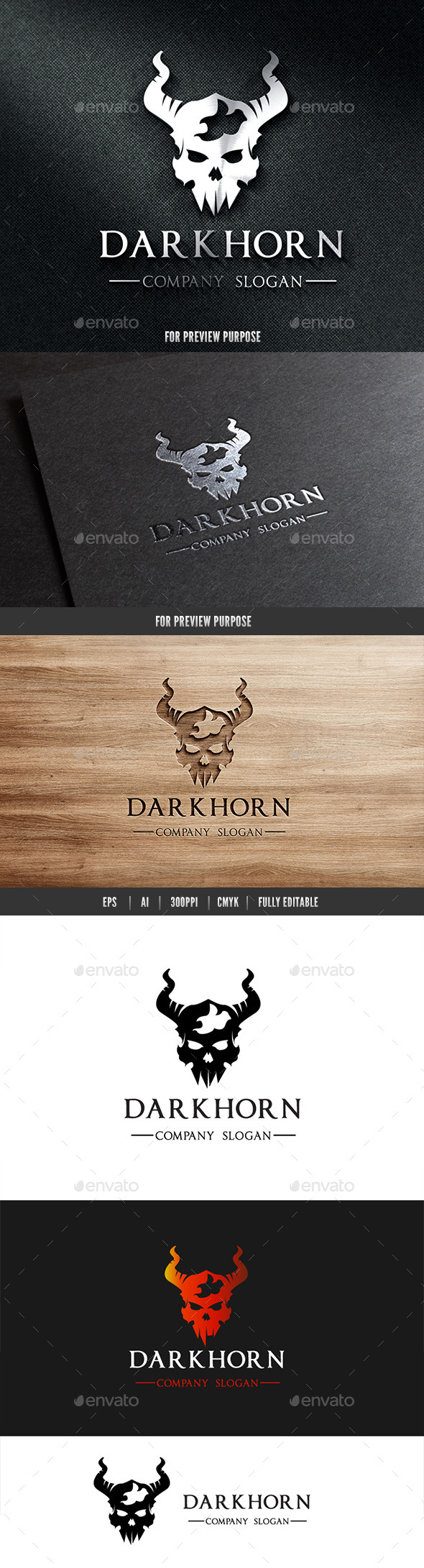 GraphicRiver Dark Horn Skull Logo 10819541