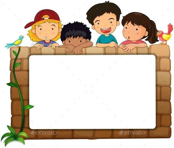 GraphicRiver Kids with and Bird and Whiteboard 10819590