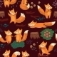 Cartoon Seamless Pattern with Foxes - GraphicRiver Item for Sale