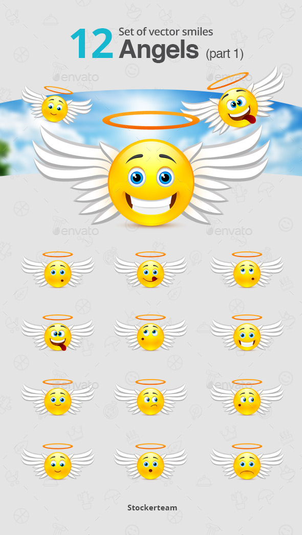 GraphicRiver Set of Angel Smiles Part 1 10819804
