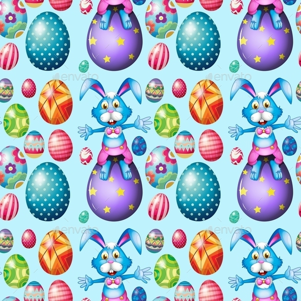 GraphicRiver Easter Rabbits with Easter Eggs 10819815