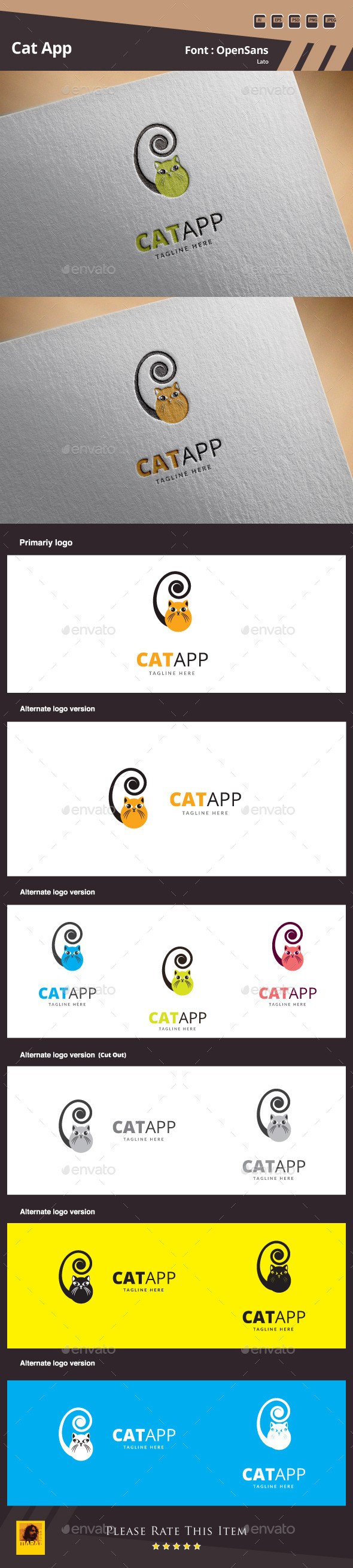 GraphicRiver Cat App Logo Template 10819878