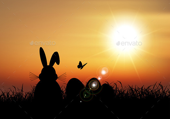 GraphicRiver Easter Bunny at Sunset 10820191