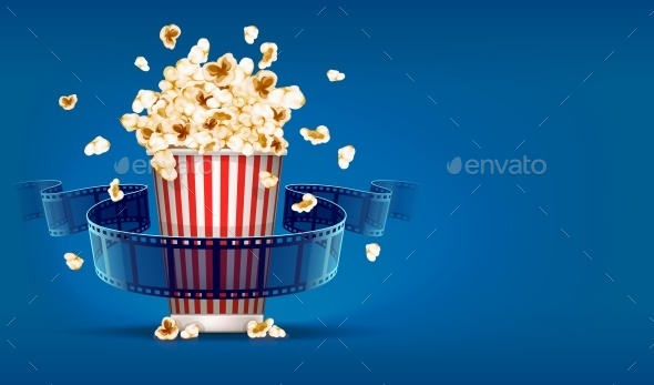 GraphicRiver Popcorn For Cinema and Movie Film Tape on Blue 10820432