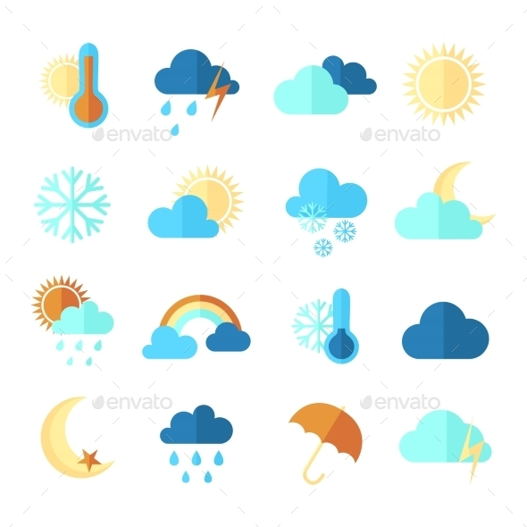 GraphicRiver Set of Colorful Weather Icons 10820806