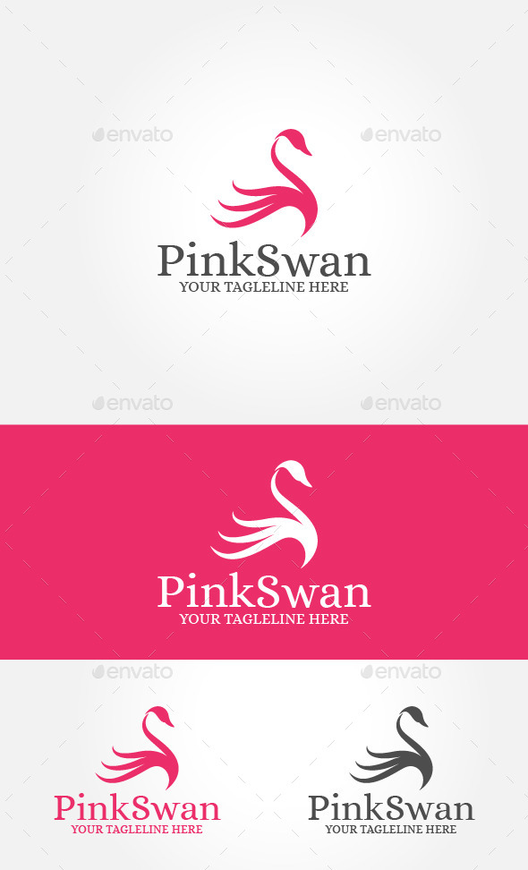 GraphicRiver Pink Swan Logo 10820868