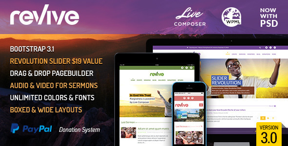 Revive: Events & Donations WordPress Theme - Churches Nonprofit