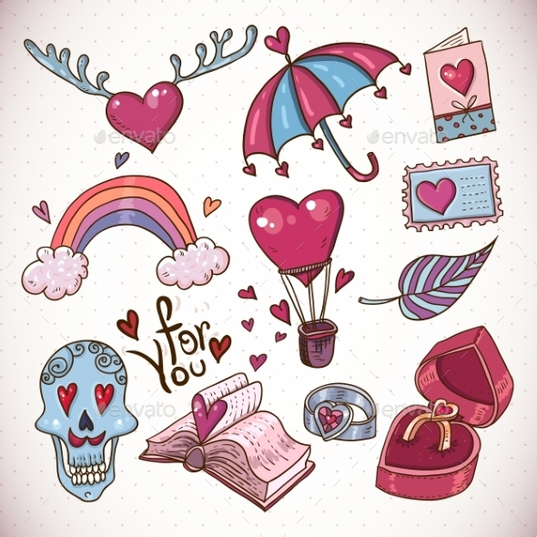 GraphicRiver Love Doodles 10821215