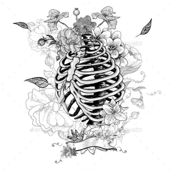 GraphicRiver Skeleton Ribs and Flowers 10821245