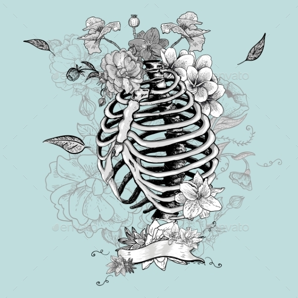 GraphicRiver Skeleton Ribs and Flowers 10821269