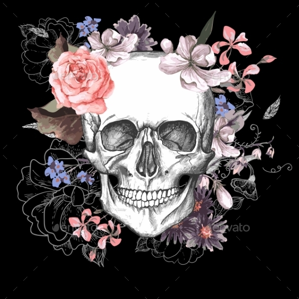 GraphicRiver Skull and Flowers Day of The Dead 10821283