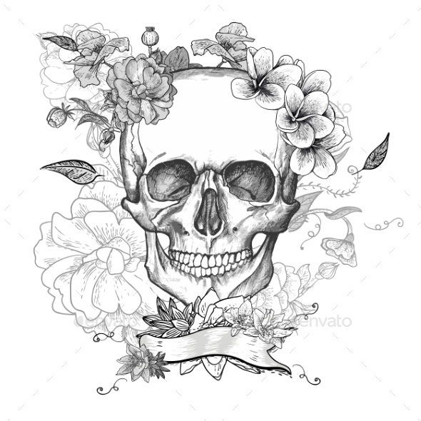 GraphicRiver Skull and Flowers Day of The Dead 10821298