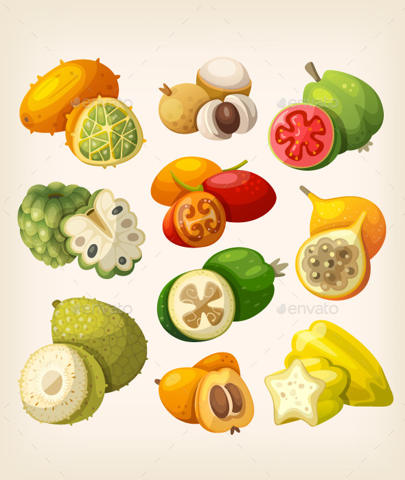 GraphicRiver Exotic Tropical Fruit 10821690