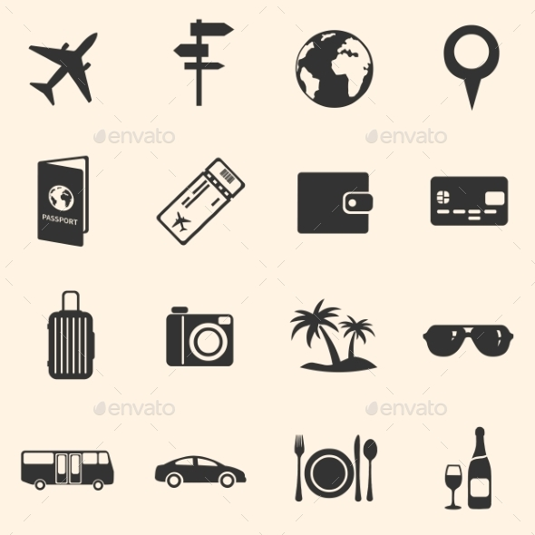 GraphicRiver Set of Travel and Vacation Icons 10822408