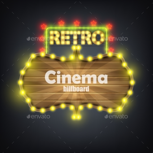 GraphicRiver Wooden Cinema Retro Billboard Banner 10822437