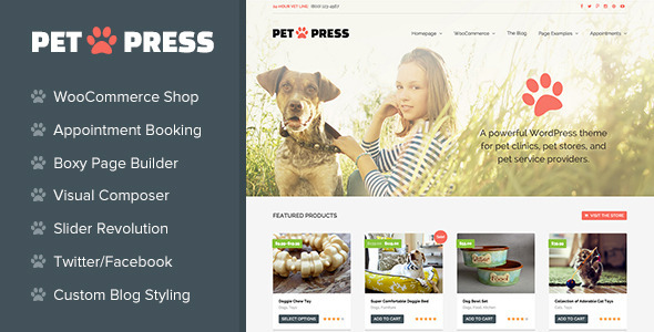 ThemeForest PetPress A Pet Shop Services Theme for WordPress 10822510