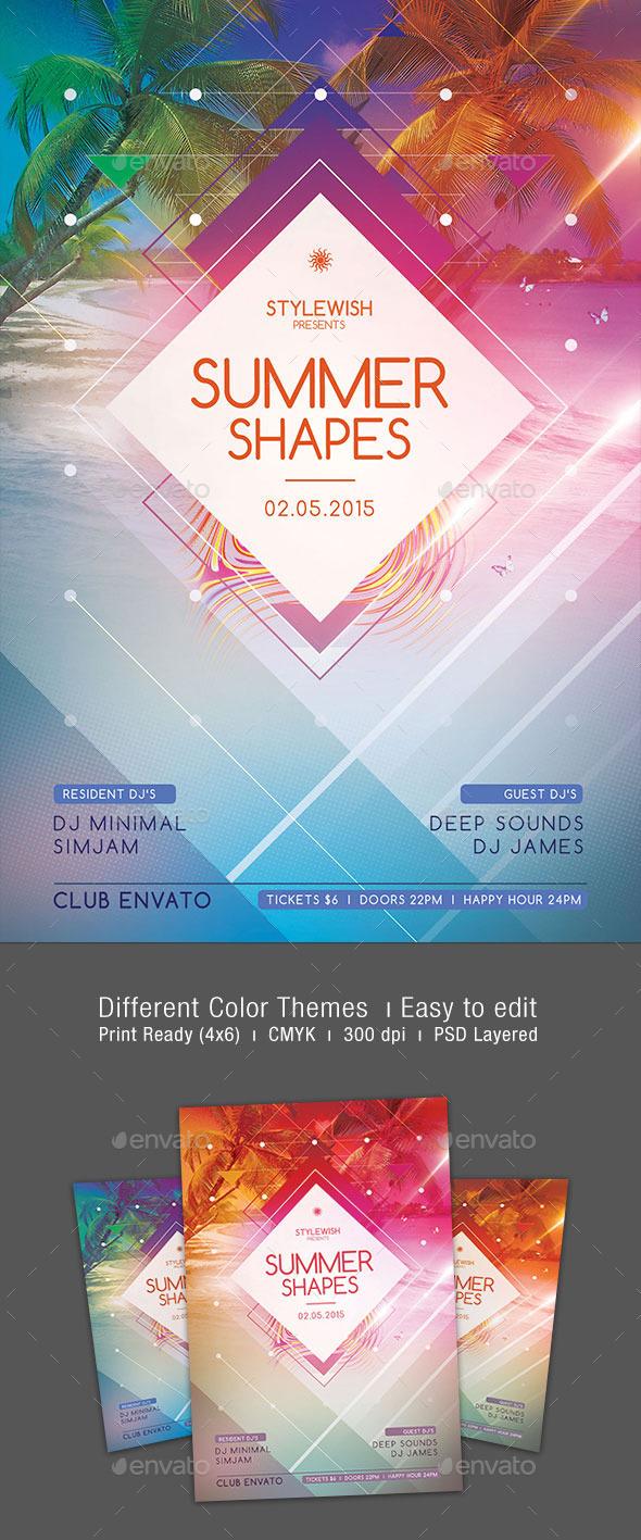 GraphicRiver Summer Shapes Flyer 10822523