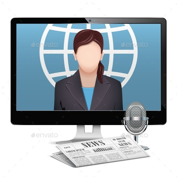 GraphicRiver Vector Computer News Concept 10822560