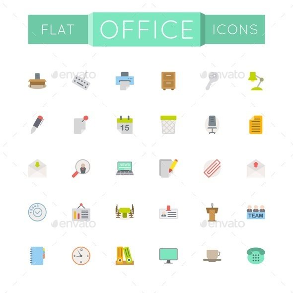 GraphicRiver Vector Flat Office Icons 10822632