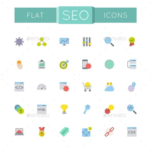 GraphicRiver Vector Flat SEO Icons 10822650