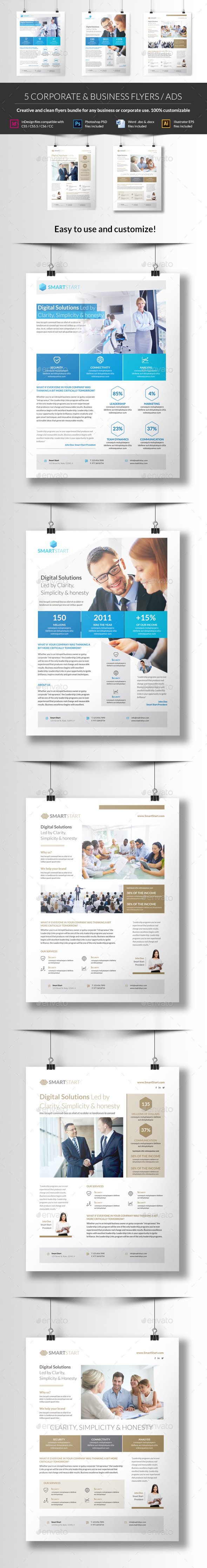 GraphicRiver 5 Corporate Flyers For Business 10822654