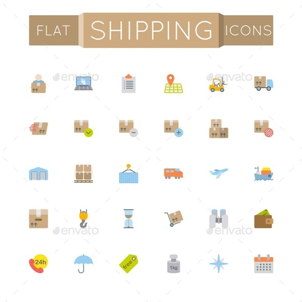 GraphicRiver Vector Flat Shipping Icons 10822669