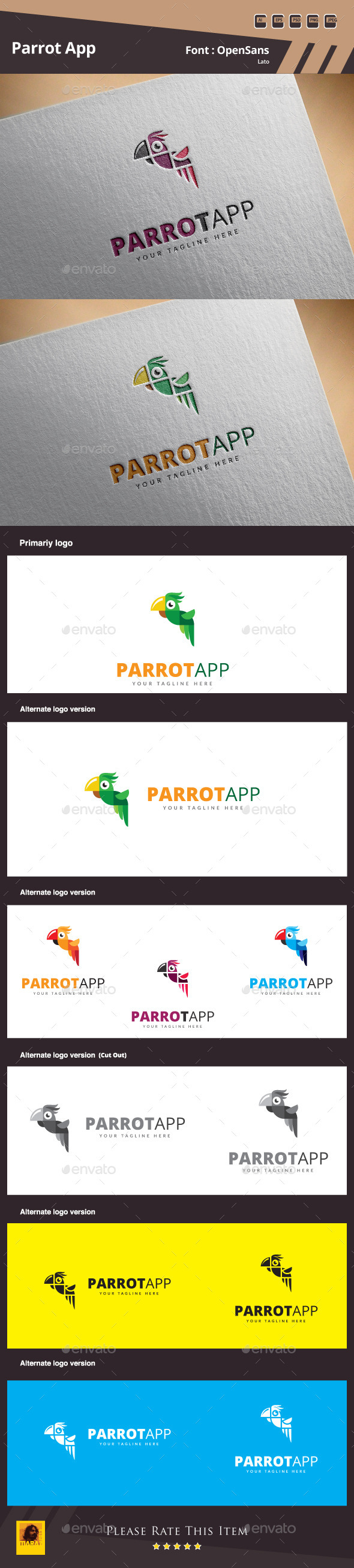 GraphicRiver Parrot App Logo Template 10822939