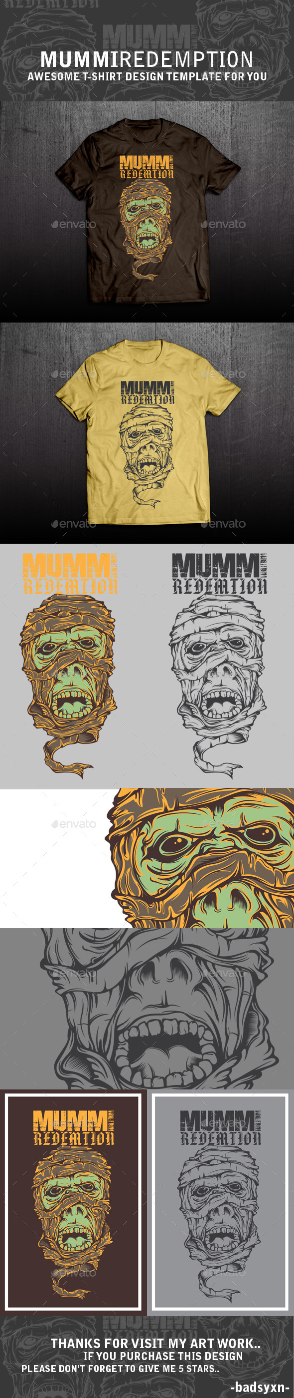 GraphicRiver Mummi t-shirt template 10781883