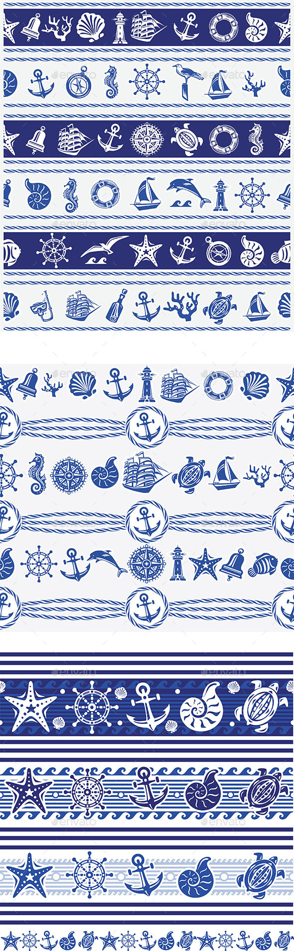GraphicRiver Borders with Nautical and Sea Symbols 10822999