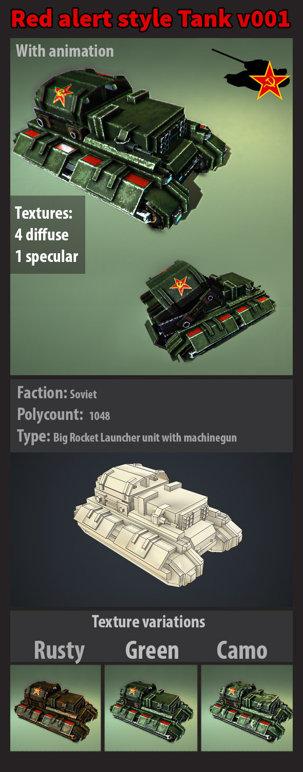 Red alert soviet style tank with animation v001  - 3DOcean Item for Sale