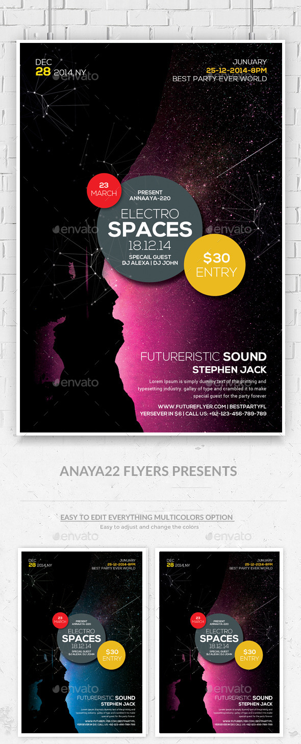 GraphicRiver Electro Space Sound Flyer Psd Templates 10823095