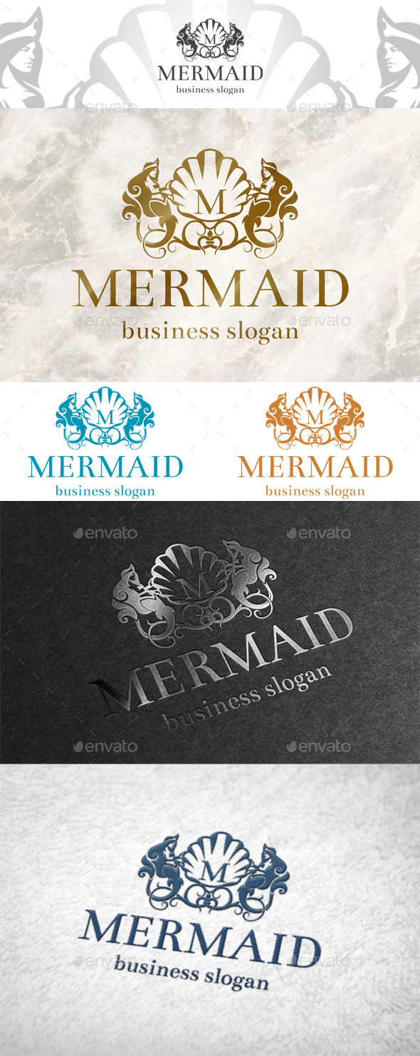 GraphicRiver Mermaid logo 10823212