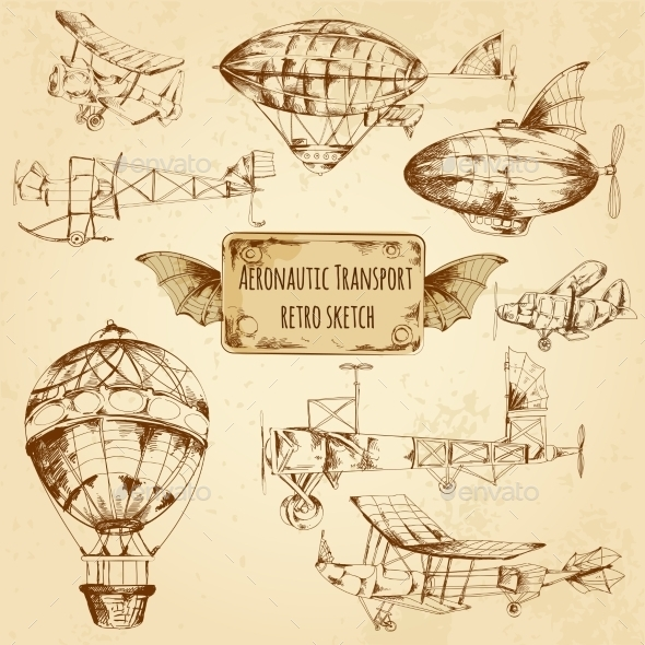 GraphicRiver Retro Aviation Sketch 10823303