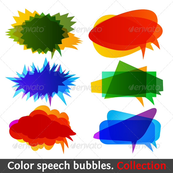 Color speech bubbles collection eps10 - Web Elements
