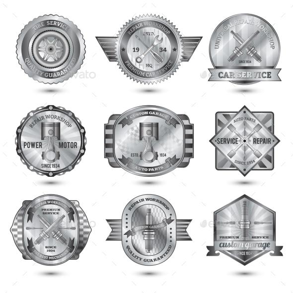 GraphicRiver Repair Workshop Metal Emblems Set 10823375