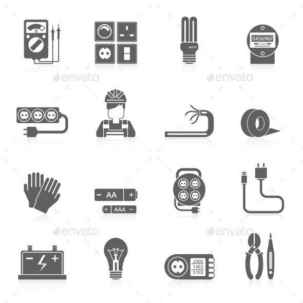 GraphicRiver Electricity Icons Set 10823514