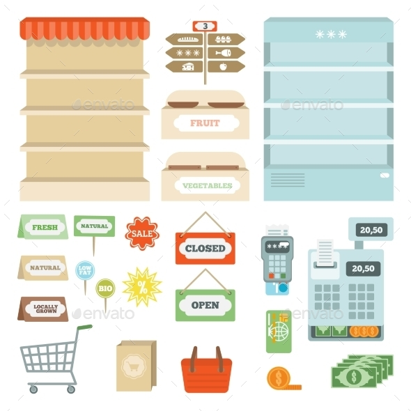 GraphicRiver Supermarket Elements Set 10823556
