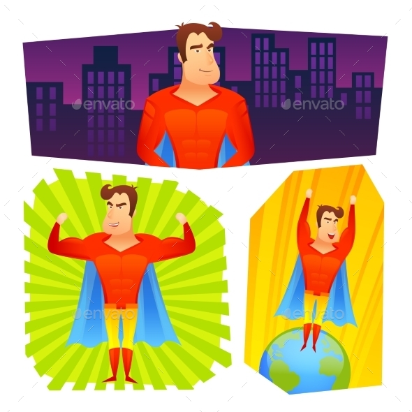 GraphicRiver Superhero Posters Banners Set 10823560