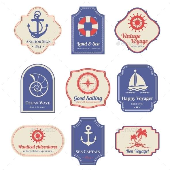 GraphicRiver Nautical Emblems Set 10823563
