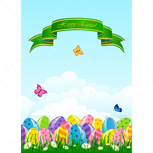 GraphicRiver Easter Background with Eggs 10823587