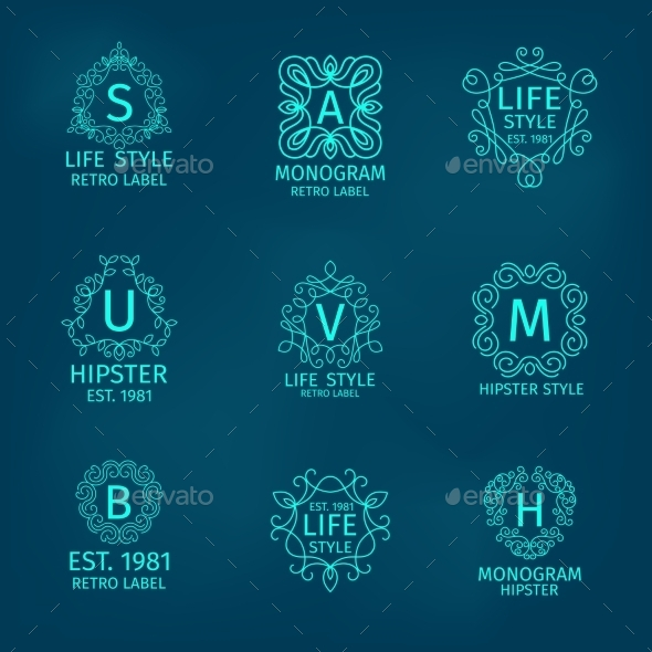 GraphicRiver Monogram Hipster Set 10823613
