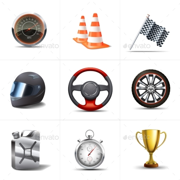 GraphicRiver Racing Icons Set 10823624