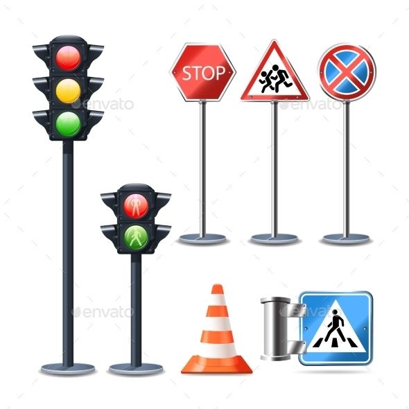 GraphicRiver Traffic Sign and Lights Set 10823639