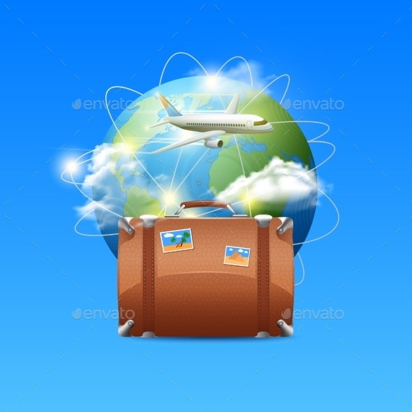 GraphicRiver Plane with Globe and Suitcase 10823681