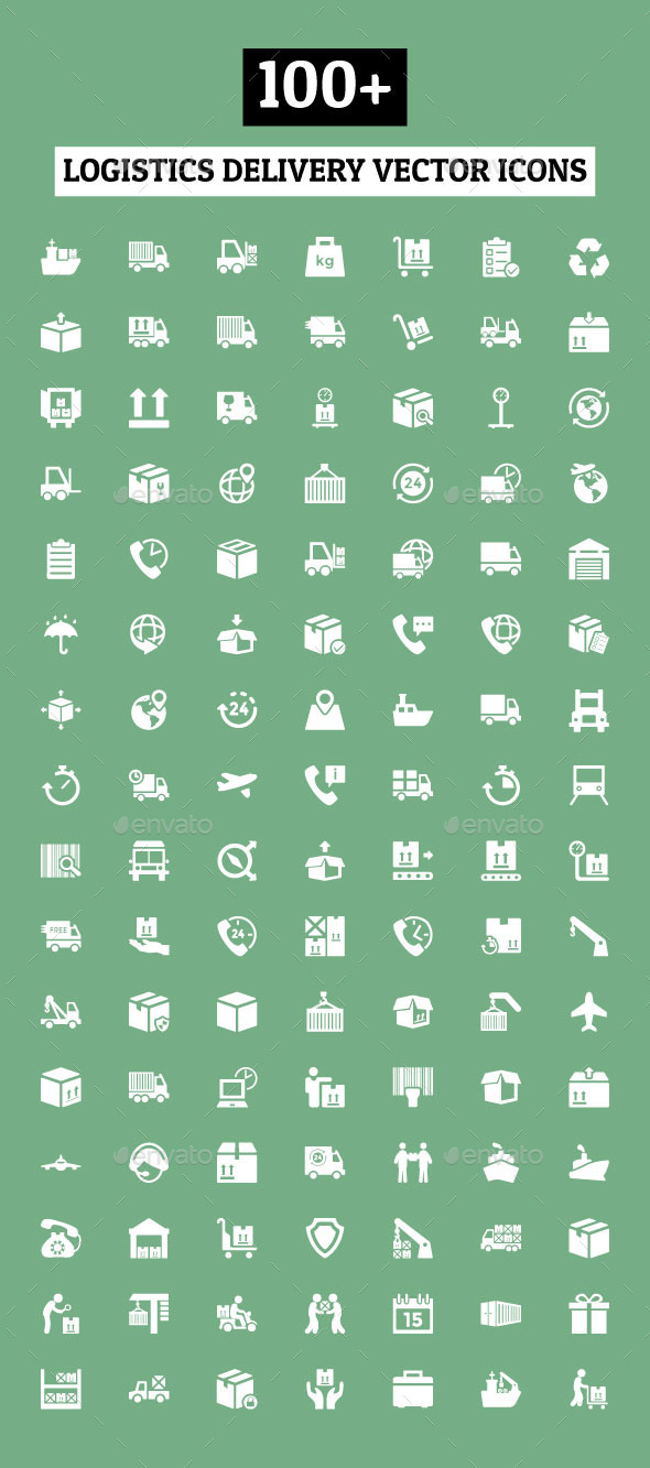 GraphicRiver 100& Logistics Delivery Vector Icons 10824017