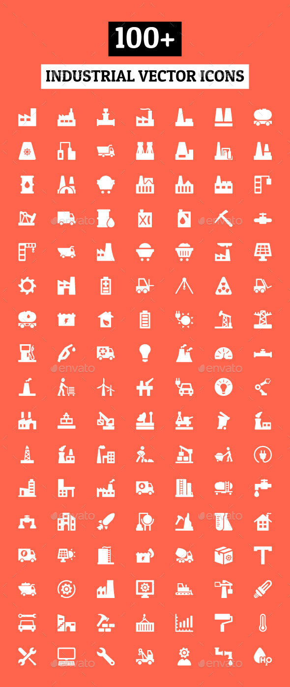 GraphicRiver 100& Industrial Vector Icons 10824032
